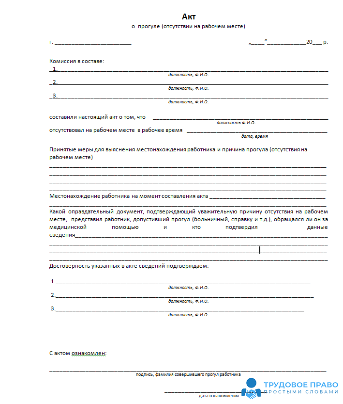 увольнение за прогул пошаговая процедура схема